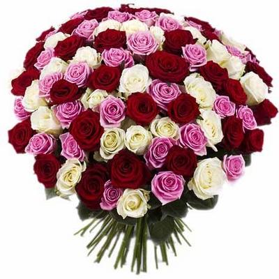 Букет из 101 цветной розы№1